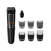 Philips Warranty 24 month(s), stubble combs (1,2 mm) , 1 adjustable beard comb (3-7 mm) and 3 hair combs (9,12,16 mm)., 8-in-1 trimmer Multigroom series 3000, Cordless